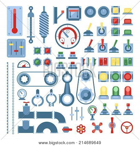 Set of measuring equipment - modern vector realistic isolated clip art on white background. Colored instruments for engineering, devices, indicators, gears, sensors, indicating meters, gauges, cranes