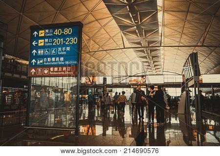 Hong Kong - November 12, 2017: Information Board Lightbox, Boarding Gate Direction At Hong Kong Airp