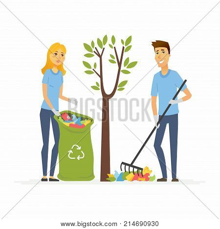 Volunteers collect garbage - cartoon people characters isolated illustration on white background. Male and female cheerful workers gather autumn leaves and rubbish and put it into recycling trash bag