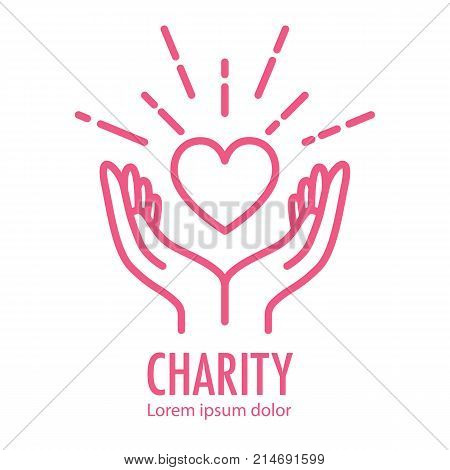 Heart in hands symbol line icon. Logo template for charity and donation, voluntary and non profit organization. Vector illustration isolated on white