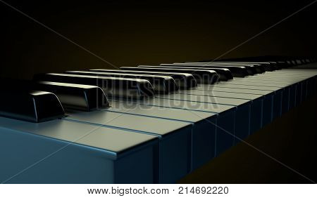 Piano keyboard isolated on the dark background shining by orange and blue art lights. Glossy close up detail. 3D render illustration