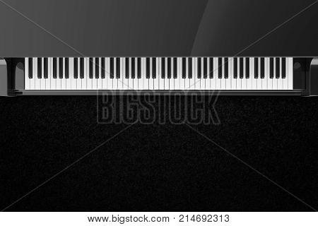 Top view on black glossy grand piano keys.