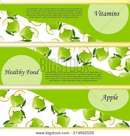logo, banner or label of fresh green apple juice. Vector square label, apple jam, sauce or juice label or poster. healthy food concept