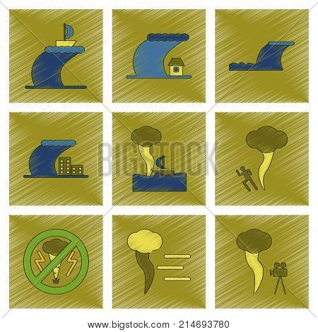 assembly flat shading style icon of nature disaster tsunami tornado