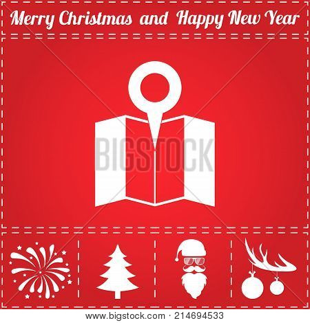 Map pin Icon Vector. And bonus symbol for New Year - Santa Claus, Christmas Tree, Firework, Balls on deer antlers