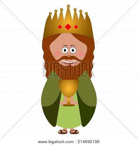 Wise man with a present for Jesus, Vector illustration