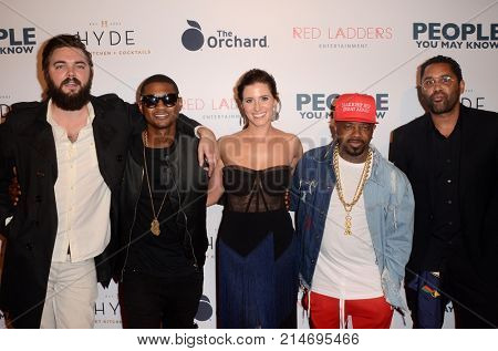 LOS ANGELES - NOV 13:  Nick Thune, Usher Raymond IV, Kaily Smith Westbrook, Jermaine Dupri, Guest at the