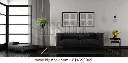 Black And White Minimalist Living Room