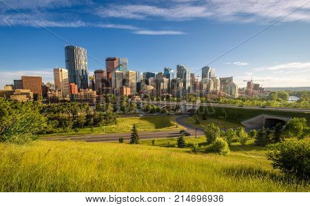 City skyline of Calgary on a summer evening, Alberta, Canada.