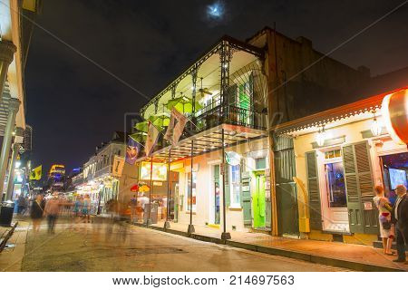 NEW ORLEANS - JUN. 1, 2017: Historic Buildings on Bourbon Street between Orleans Street and St Ann Street in French Quarter at night in New Orleans, Louisiana, USA.
