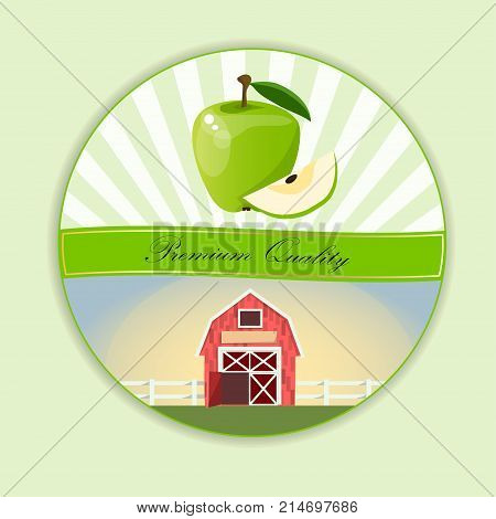 logo of fresh green apple juice. Vector round label, apple jam, sauce or juice label. yummy apply on lable with farm or ambar on green meadow
