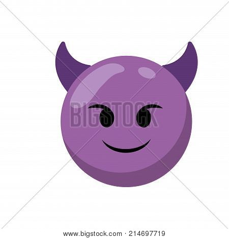Purple cartoon face emoticon caricature and character theme Isolated design Vector illustration poster