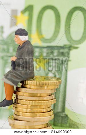 pensioner is sitting on money pile