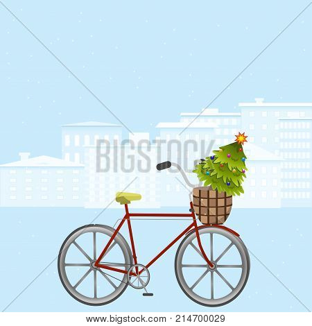 Christmas card. Bicycle with Christmas tree in the luggage basket on the background of a winter city. Vector illustration