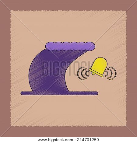 flat shading style icon of tsunami alarming bell