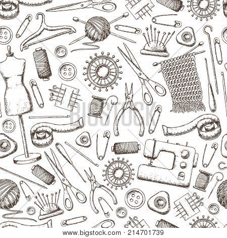 Seamless pattern of tools for needlework and sewing. Handmade equipment and needlework accessoriesy sketch illustration. Vector