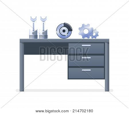 Car repair and service. Mechanic repairs, diagnostics car, equipment. Service for the replacement of auto spare parts and mechanisms. Shop, shopping, equipment and mechanics. Vector illustration.