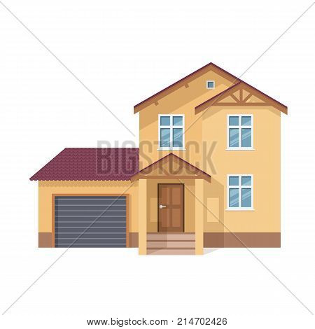 Colorful suburban house, family vacation house, mansion, real estate in rural area. Facade apartment house. Bright multi-storey family house with garage and lot of rooms. Vector illustration isolated.