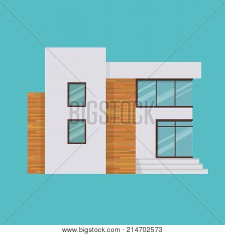 Suburban house, family vacation house, mansion. Facade apartment house. Modern two-storey mansion in expensive style, country house for rest, hotel, apartments for tourists. Vector illustration.