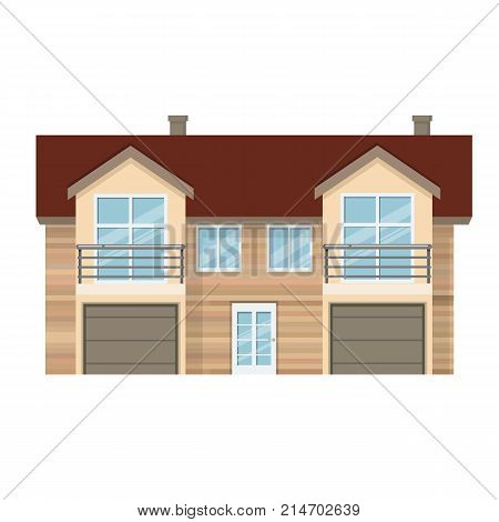 Colorful suburban house, family vacation house, mansion, real estate in rural area. Facade apartment house. Bright multi-storey family house with garage and lot of rooms. Vector illustration isolated. poster