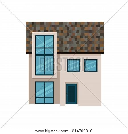 Suburban house, family vacation house, mansion. Facade apartment house. Cozy house, family rest, holidays, summer season, gardening, housekeeping apartments for tourists hostel Vector illustration