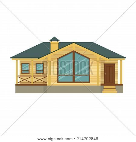 Suburban house, family vacation house, mansion. Facade apartment house. Expensive mansion for family and corporate recreation, business meetings, prestigious luxury real estate. Vector illustration.
