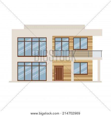 Colorful suburban house, family vacation house, mansion, real estate in rural area. Facade apartment house. Modern two-storey mansion in expensive style, country house for rest. Vector illustration.