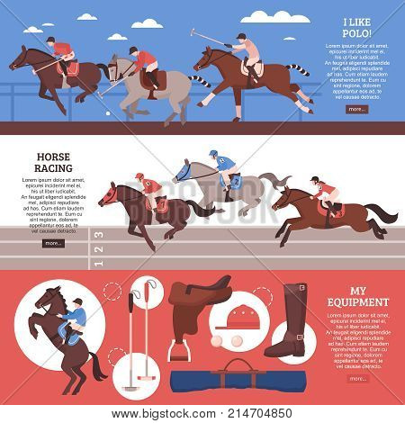 Equestrian sport horizontal banners with polo, horse racing, equipment including saddle, blanket, game accessories isolated vector illustration
