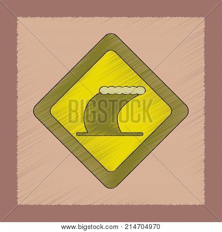 flat shading style icon of tsunami sign