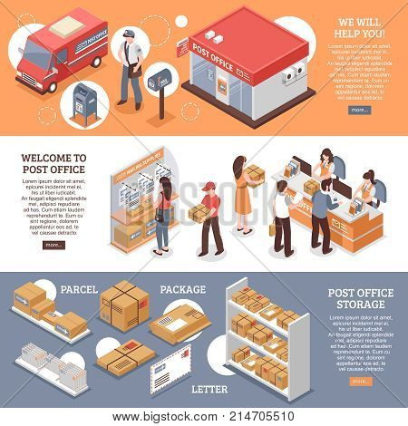 Isometric post horizontal banners set with postal office images characters of workers and parcel package images vector illustration