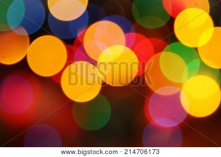 brightly colored lights , abstract bokeh image