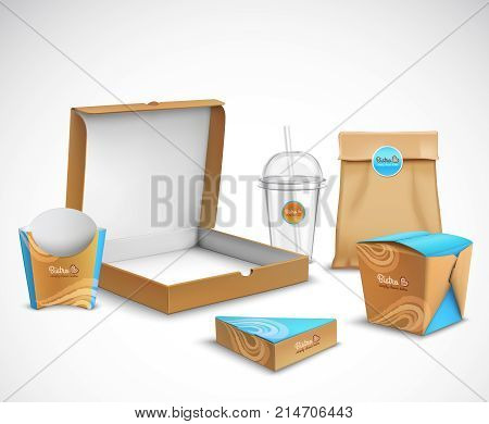 Fast food packaging corporate identity realistic templates set modern beige and bright blue turquoise colors vector illustration