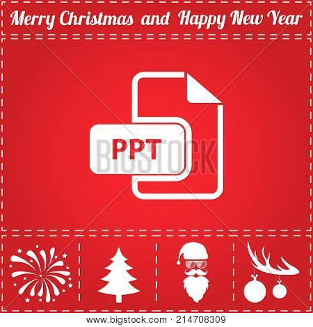 PPT Icon Vector. And bonus symbol for New Year - Santa Claus, Christmas Tree, Firework, Balls on deer antlers
