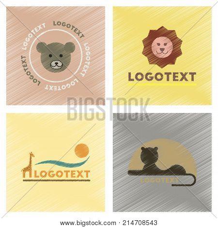 assembly flat shading style icons of logo bear lion giraffe