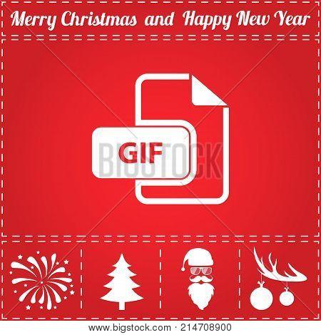 GIF Icon Vector. And bonus symbol for New Year - Santa Claus, Christmas Tree, Firework, Balls on deer antlers