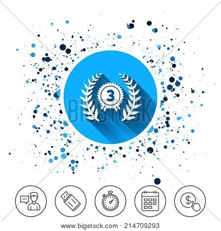 Button on circles background. Third place award sign icon. Prize for winner symbol. Laurel Wreath. Calendar line icon. And more line signs. Random circles. Editable stroke. Vector