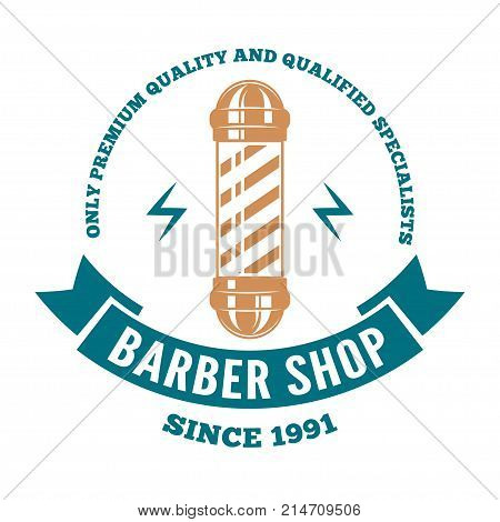 Hairdressing saloon logo or badge with barber pole on white background