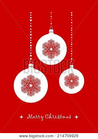 vector christmas balls isolated on red background