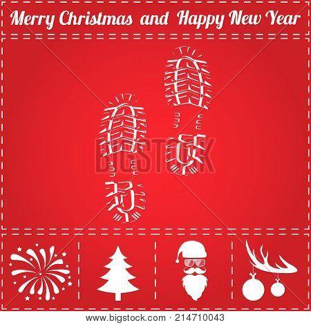 Footprint Icon Vector. And bonus symbol for New Year - Santa Claus, Christmas Tree, Firework, Balls on deer antlers