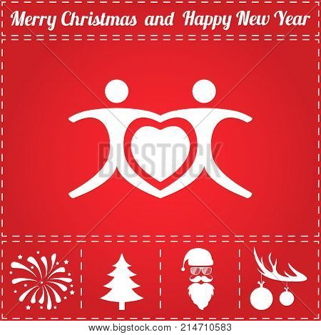 Love Heart Icon Vector. And bonus symbol for New Year - Santa Claus, Christmas Tree, Firework, Balls on deer antlers