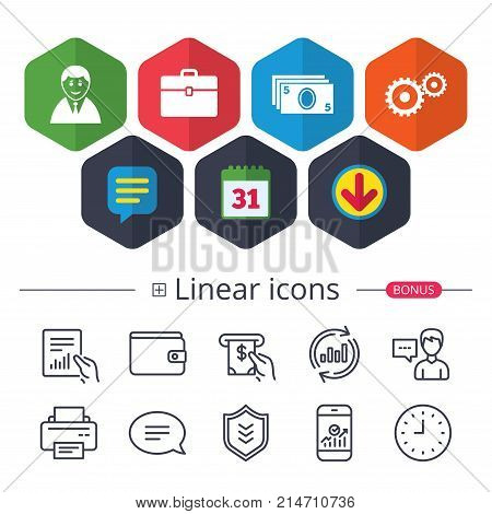 Calendar, Speech bubble and Download signs. Businessman icons. Human silhouette and cash money signs. Case and gear symbols. Chat, Report graph line icons. More linear signs. Editable stroke. Vector
