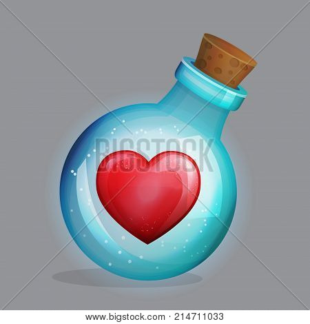 Magic potion bottle with love potion and lonely loving heart decoration inside. Festive traditional saint valentine's greeting design.