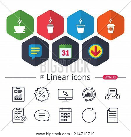 Calendar, Speech bubble and Download signs. Coffee cup icon. Hot drinks glasses symbols. Take away or take-out tea beverage signs. Chat, Report graph line icons. More linear signs. Editable stroke