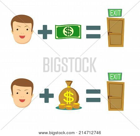 money helps to find a way out, exit. set. Stock flat vector illustration.