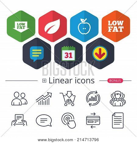 Calendar, Speech bubble and Download signs. Low fat arrow icons. Diets and vegetarian food signs. Apple with leaf symbol. Chat, Report graph line icons. More linear signs. Editable stroke. Vector