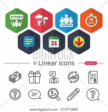 Calendar, Speech bubble and Download signs. Strike icon. Storm bad weather and group of people signs. Delayed flight symbol. Chat, Report graph line icons. More linear signs. Editable stroke. Vector