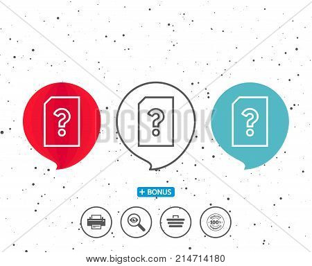 Speech bubbles with symbol. Unknown Document line icon. File with Question mark sign. Untitled Paper page concept symbol. Bonus with different classic signs. Random circles background. Vector