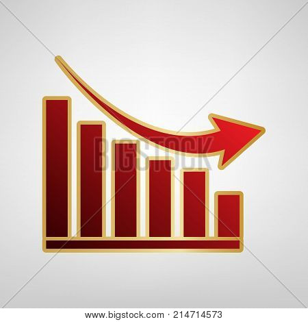 Declining graph sign. Vector. Red icon on gold sticker at light gray background.