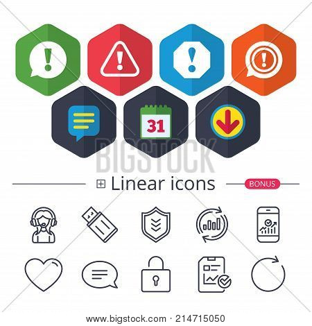 Calendar, Speech bubble and Download signs. Attention icons. Exclamation speech bubble symbols. Caution signs. Chat, Report graph line icons. More linear signs. Editable stroke. Vector