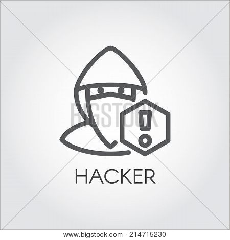 Computer hacker line icon. Abstract figure of man in mask and exclamation mark contour pictograph. Criminal cyber hacking. Illegal anonymous activity, virtual attack concept. Vector illustration